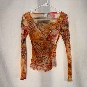 Cache XS Blouse Orange Semi Sheer Faux Wrap